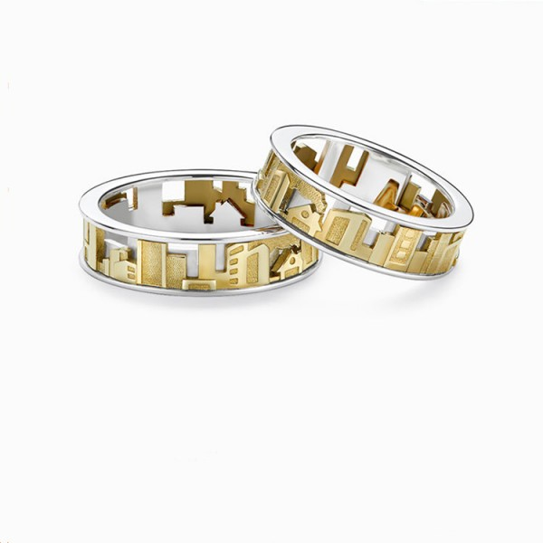 Original Engravable The City Distance Rotatable Couple Ring In Sterling Silver Plated 18K Gold