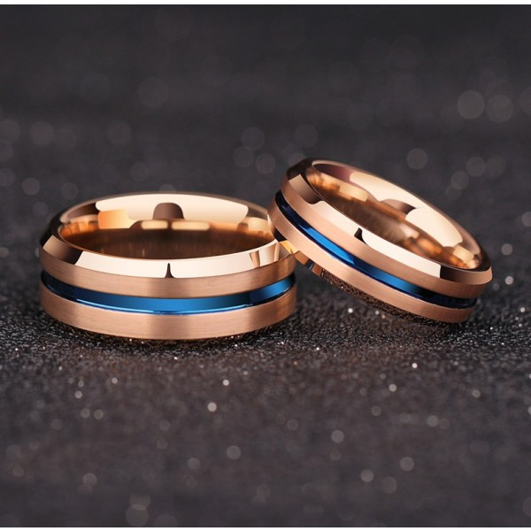 Engravable Rose And Blue Two Tone Simple Tungsten Couple Rings For Him And Her