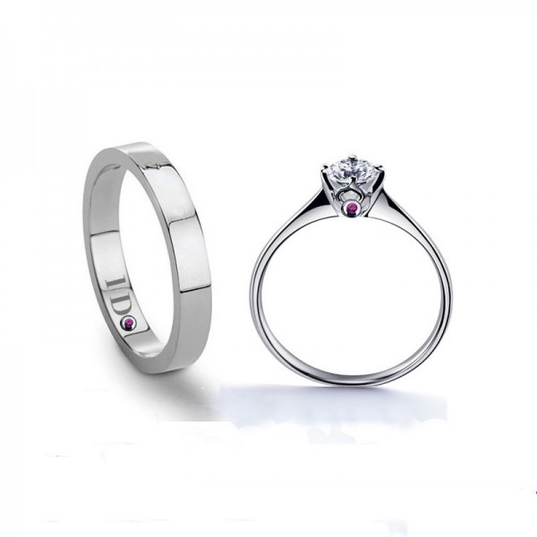Engravable Couple's Round Cut Cubic Zirconia Promise Ring Wedding Ring