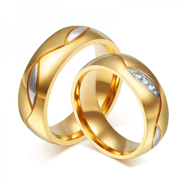 Engravable Simple Titanium Promise Ring For Couples Black Yellow Rose Optional