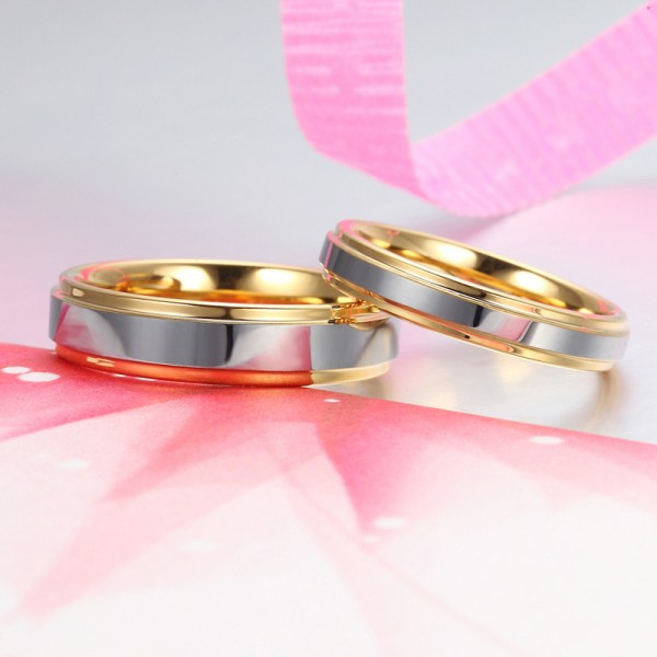 Engravable Couple's Tungsten Promise Ring Silver And Gold Two-Tone