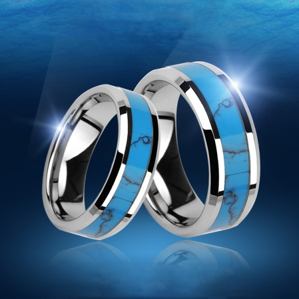 Engravable Tungsten Blue Couple Ring For Him And Her