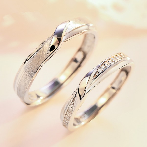 Engravable Couple's Infinity Promise Ring In 925 Sterling Silver
