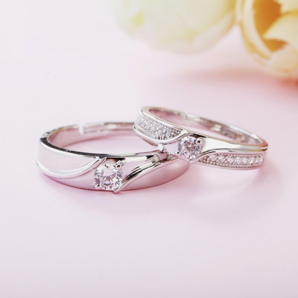 Adjustable Cubic Zirconia Promise Ring For Couples In 925 Sterling Silver