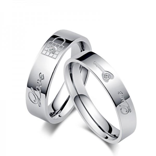 Engravable Titanium Lock and key Couple Rings