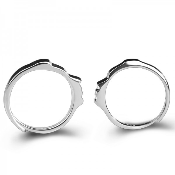 Engravable Matching Kiss Promise Ring For Couples In Sterling Silver