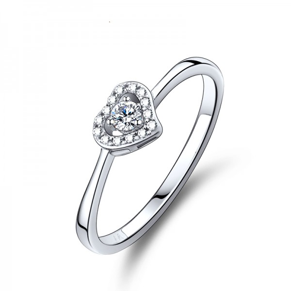 Engravable Sterling Silver Plated Platinum Heart Promise Ring Wedding Ring Engagement Ring