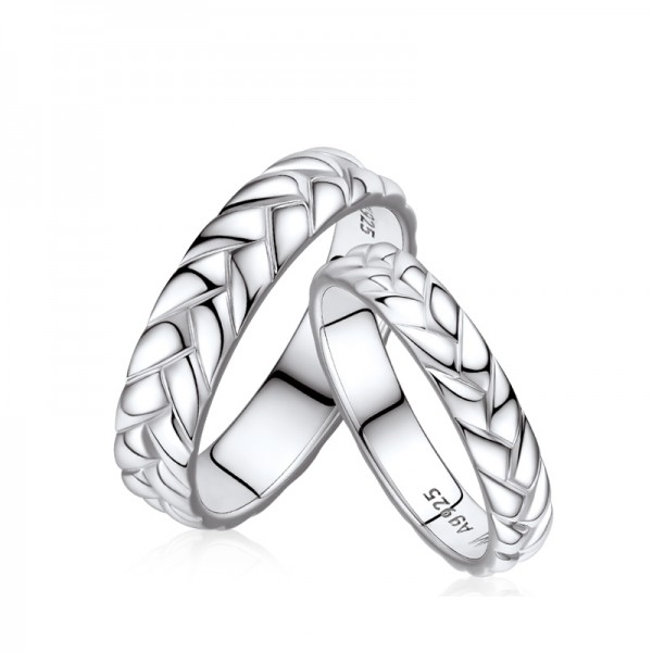 Engravable Sterling Silver Plated Platinum Wheat Ears Promise Ring For Couples