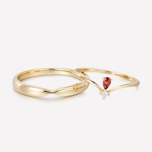 9k Gold 2nd Anniversary Ring Garnet Promise Ring For Couples