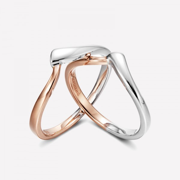 9k White Gold And Rose Gold Promise Ring For Couples Anniversary Ring