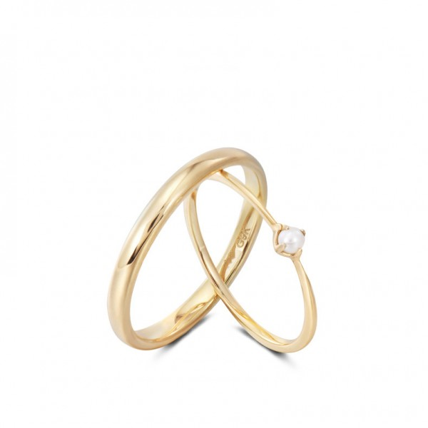 9k Gold Anniversary Ring Pearl Promise Ring For Couples