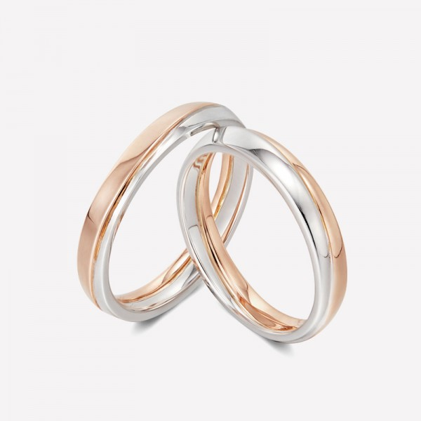 9k White Gold And Rose Gold Anniversary Ring For Couples Wedding Ring