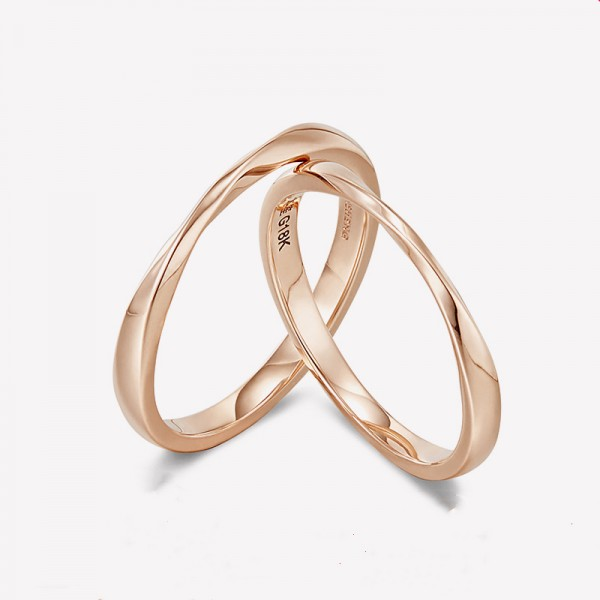 18k Rose Gold Mobius Band Anniversary Ring For Couples Infinity Wedding Ring