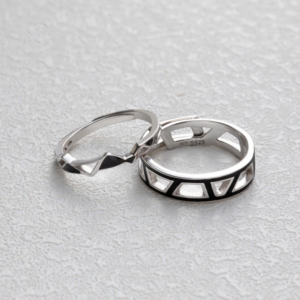 Original Geometric Couple Rings For Her And Him In 925 Sterling Silver