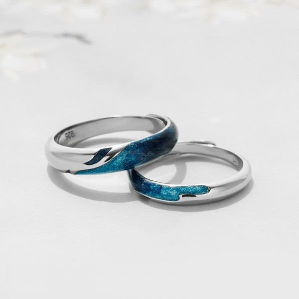 Engravable Galaxy Promise Ring For Couples In 925 Sterling Silver