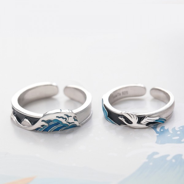 Original Engravable Seagull And Sea Promise Ring For Couple In Sterling Silver