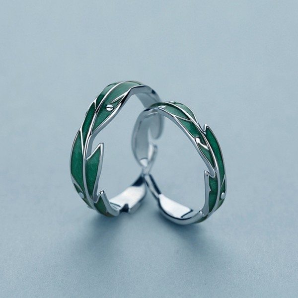 Engraved Gentle Rain On Leaves Promise Ring For Couples In Sterling Silver