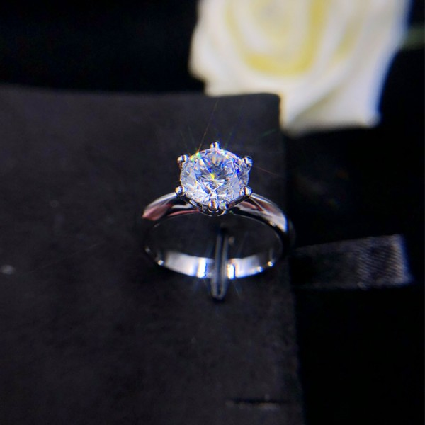 Engravable Solitaire Round Cut Moissanite Promise Ring For Her