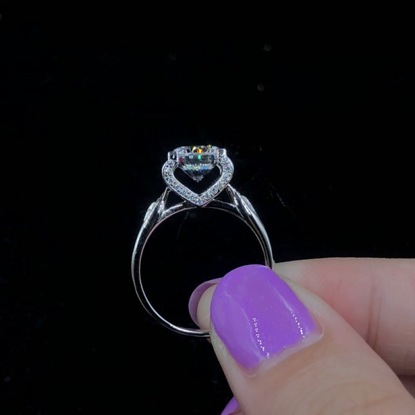 Engravable Solitaire with Side Accent Round Cut 1 ct Moissanite Promise Ring For Her
