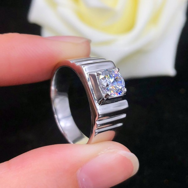 Engravable Solitaire Moissanite Promise Ring For Him