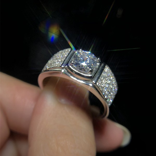 Engravable Solitaire with Side Accent Moissanite Promise Ring For Man