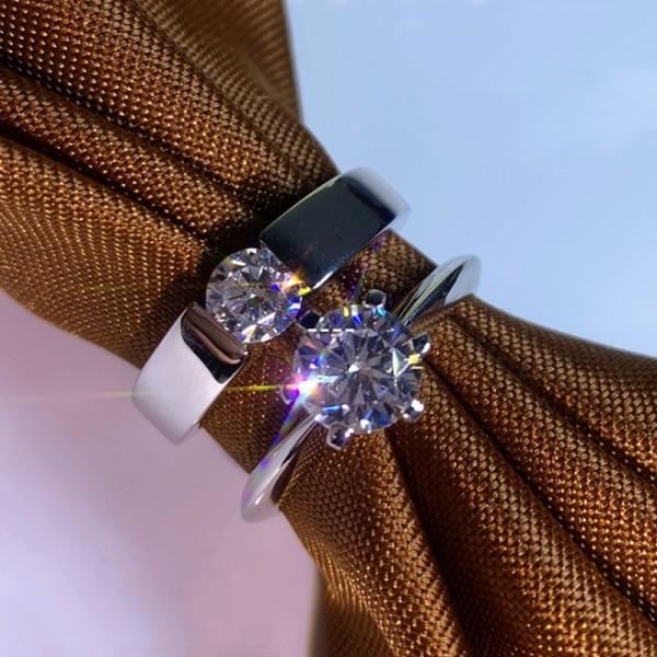 Engravable Solitaire Moissanite Promise Ring For Couples In Sterling Silver