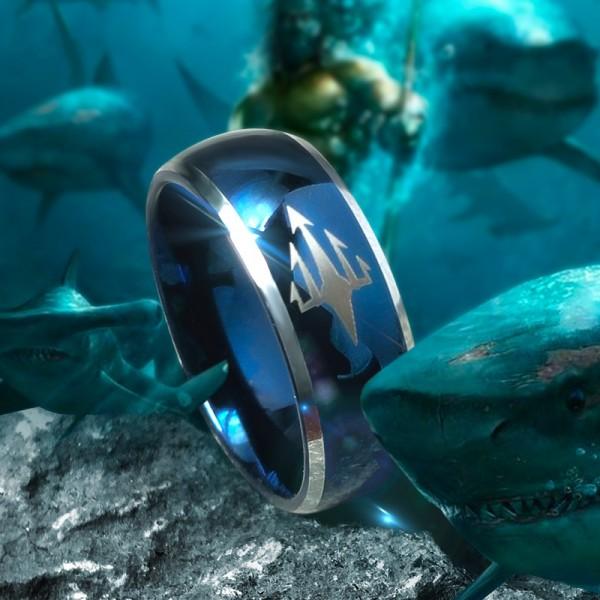 Engravable Blue Aquaman Tungsten Wedding Ring For Men