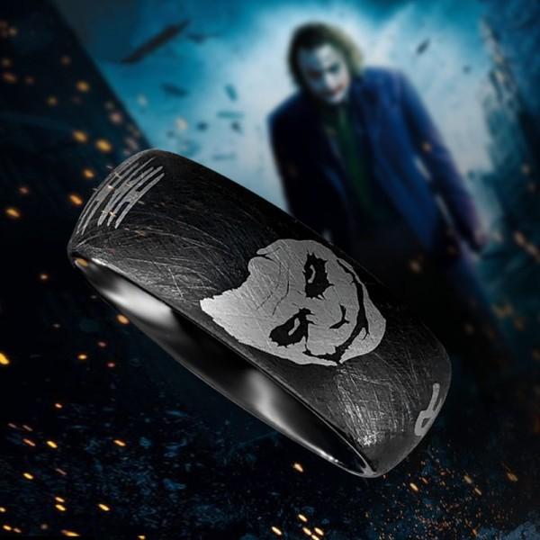 Engravable Black Joker Tungsten Wedding Ring For Men
