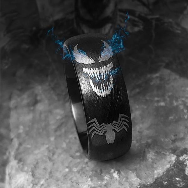 Engravable Black Venom Tungsten Wedding Ring For Men
