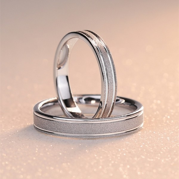 Engravable Simple Frosted Promise Ring For Couples In Tungsten