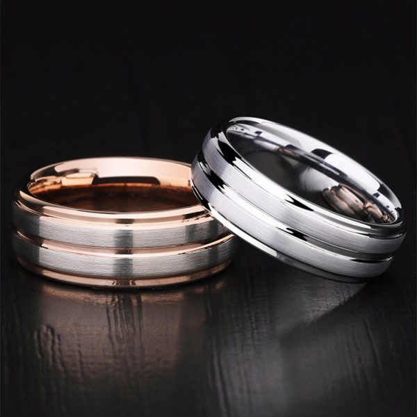 Engravable Rose And Silver Two-Tone Tungsten Simple Frosted Promise Ring For Couples