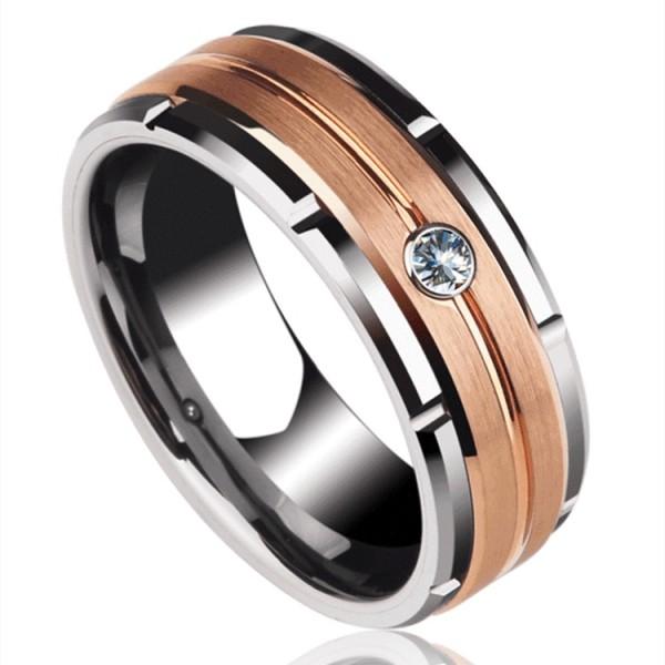 Engravable Round Cut 0.06ct Diamond Wedding Ring For Men In Tungsten