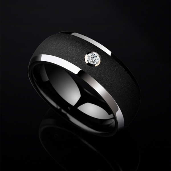 Engravable 0.06ct Diamond Black Wedding Band For Man In Tungsten