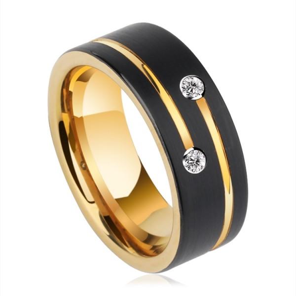 Engravable Moissanite Black Wedding Band For Men In Tungsten