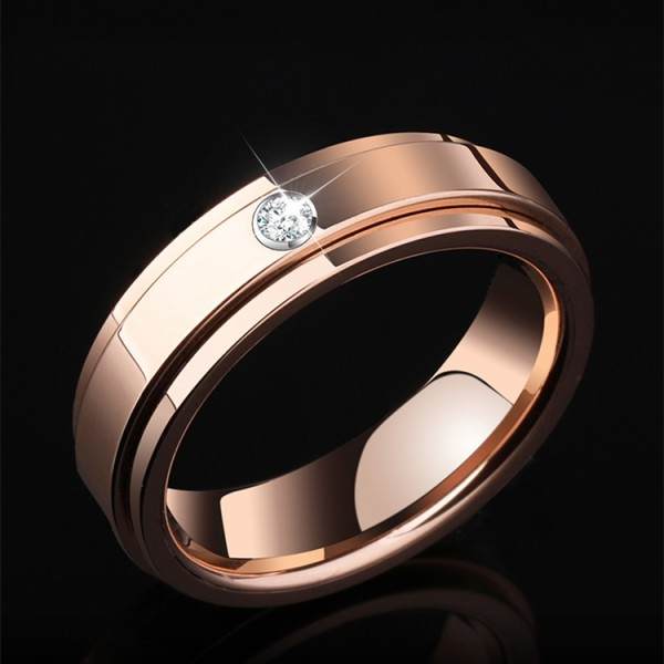 Engravable Moissanite Wedding Band For Men In Tungsten Rose And Silver Optional