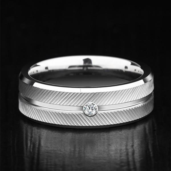 Engravable Moissanite White Wedding Band For Men In Tungsten
