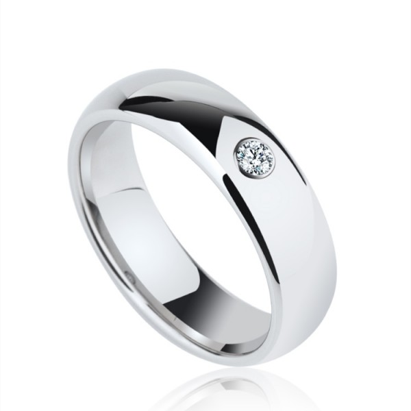 Engravable Round Cut Moissanite Wedding Ring For Men In Tungsten