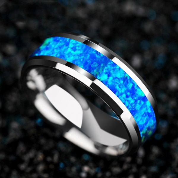 Engravable Blue Opal Wedding Band For Men In Tungsten