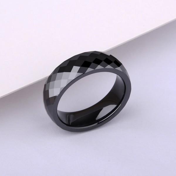 Engravable Ceramic Black Wedding Band For Men