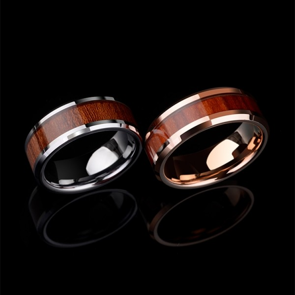 Engravable Silver And Rose Wooden Promise Ring For Couples In Tungsten