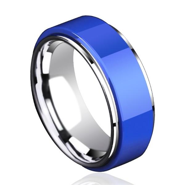 Engravable Blue Ceramic Wedding Band For Men In Tungsten