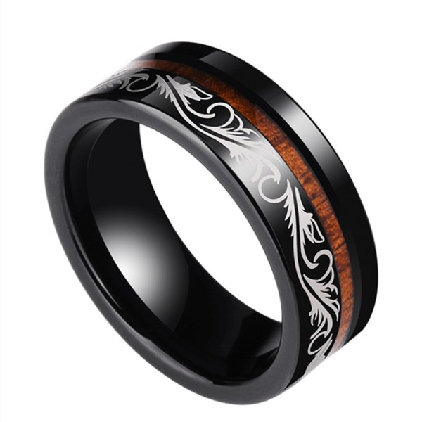 Engravable Trends Wooden Wedding Ring For Men In Tungsten