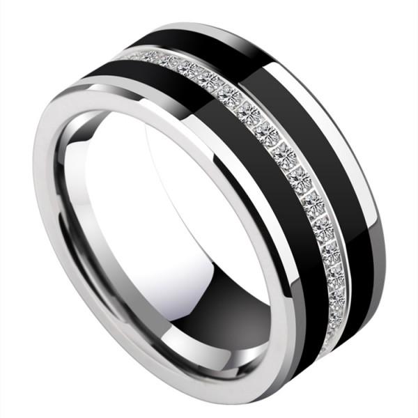 Engravable Cubic Zirconia Wedding Band For Men In Tungsten