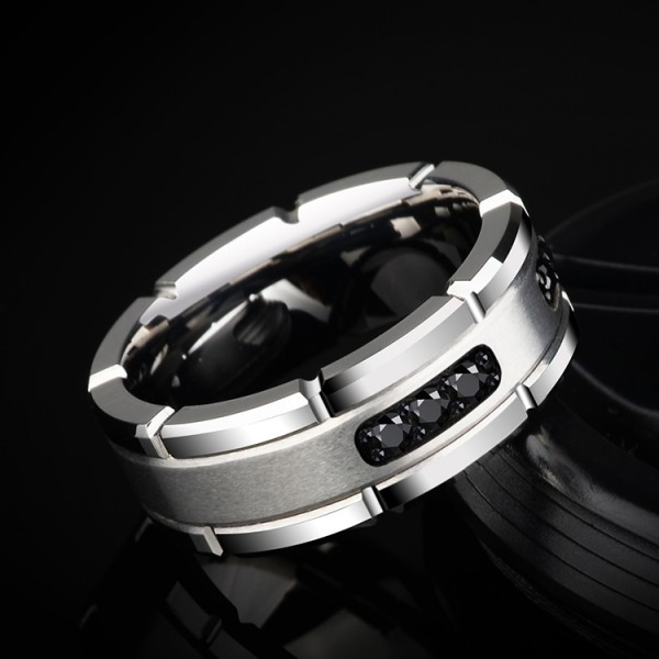Engravable Obsidian Frosted Wedding Band For Men In Tungsten