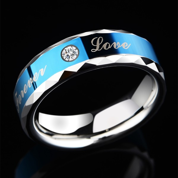 Engravable Forever Love Cubic Zirconia Wedding Band For Men In Tungsten