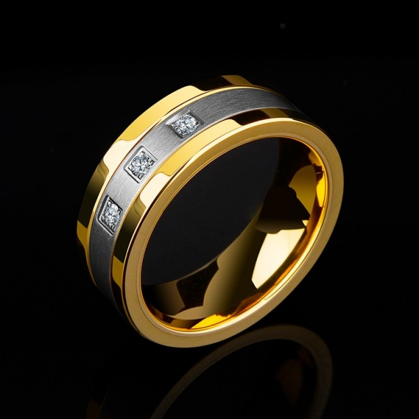 Engravable Cubic Zirconia Yellow Gold Wedding Band For Men In Tungsten