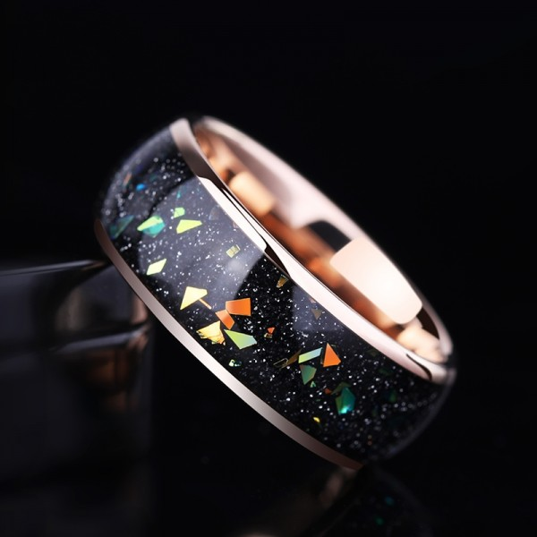 Engravable Starry Sky Wedding Band For Men In Tungsten