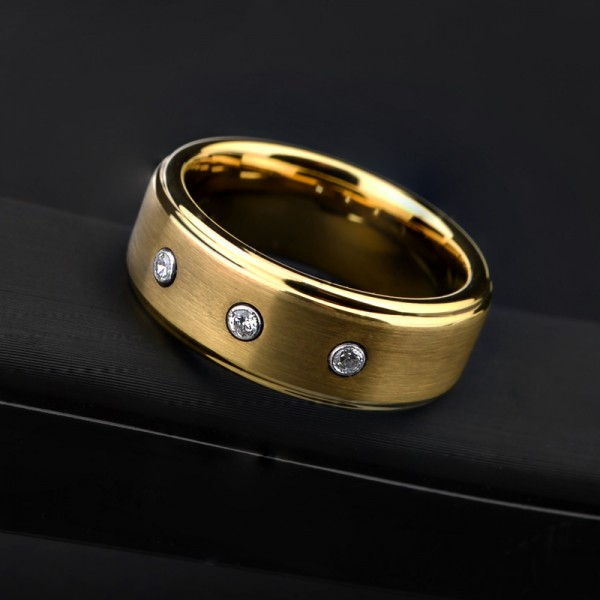 Engravable Cubic Zirconia Yellow Wedding Band For Men In Tungsten