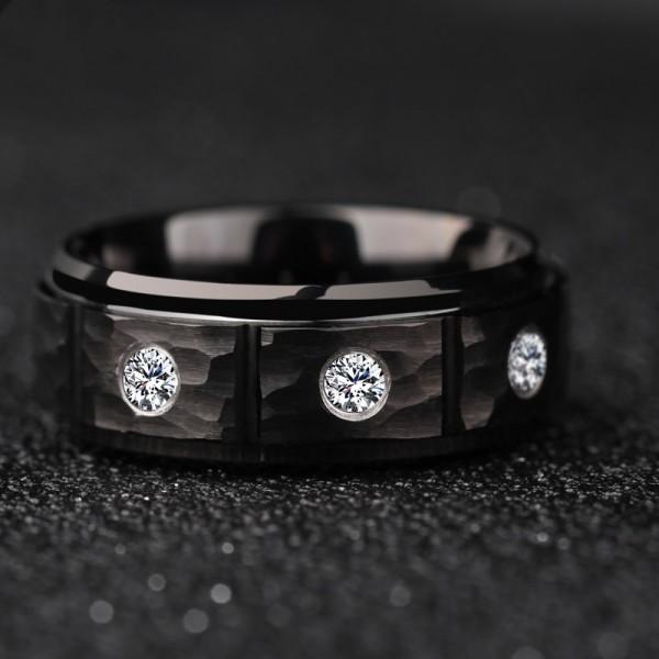 Engravable Black Cubic Zirconia Wedding Band For Men In Tungsten