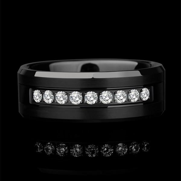Engravable Black Wedding Ring For Men In Tungsten